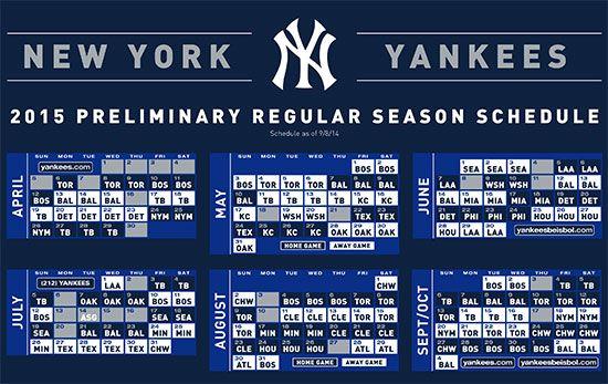 Yankees 2015 Schedule New York Yankees Yankees Schedule