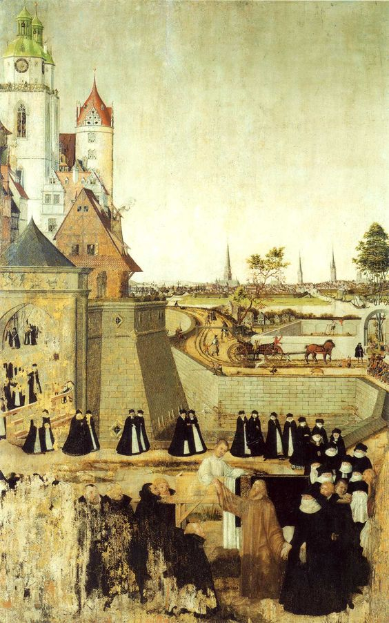 "In Luke 7, Jesus raises a young man from the dead in the village of Nain. Lucas Cranach the Younger--one of the primary artists of the Reformation churches--painted the funeral procession outside of Nain as if the town was in medieval Europe. Jesus, as in much medieval art, is wearing royal red, and the young man is wearing a white shroud, which reminds us of our baptismal gown. (""Auferweckung des Jünglings zu Nain"" in the ""City Church,"" Wittenberg)"