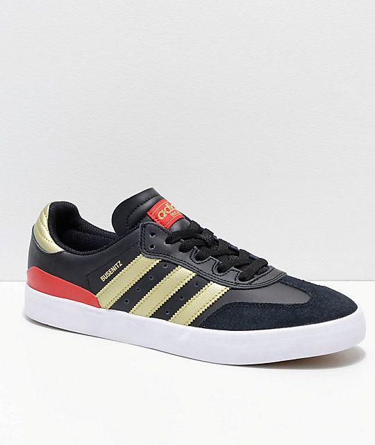 Morgue Fundador Lijadoras  adidas Busenitz Vulc Samba RX Black, Red & Gold Shoes | Zumiez | Gold  shoes, Gold adidas, Adidas busenitz