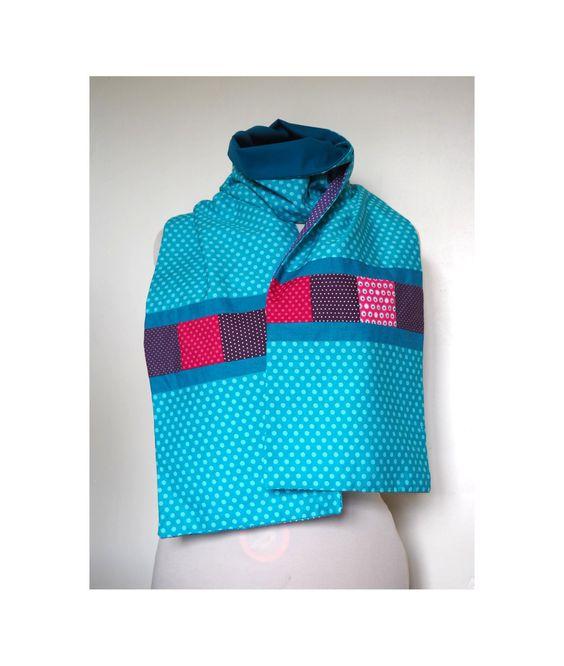 Écharpe en patchwork de coton bleu, violet et fuchsia / écharpe de printemps