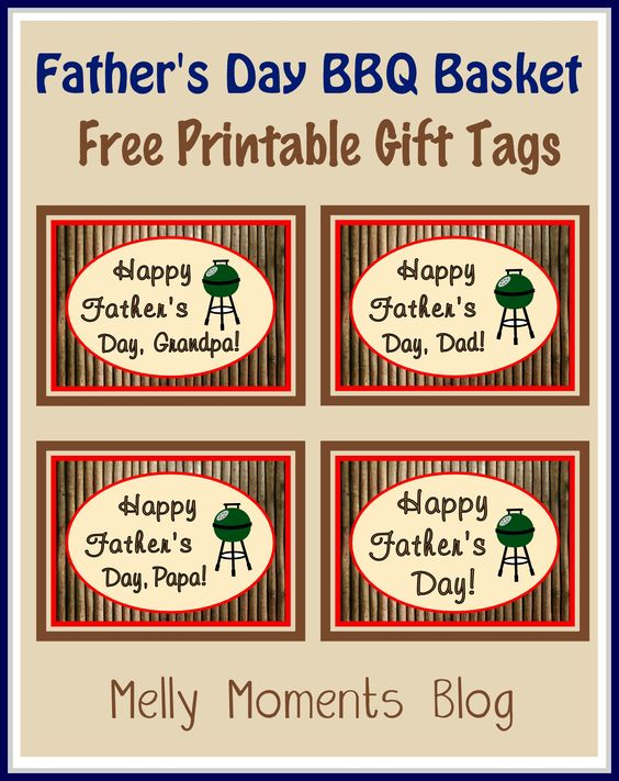 FREE Fathers Day Gift Tags and Labels. Perfect to use with a BBQ