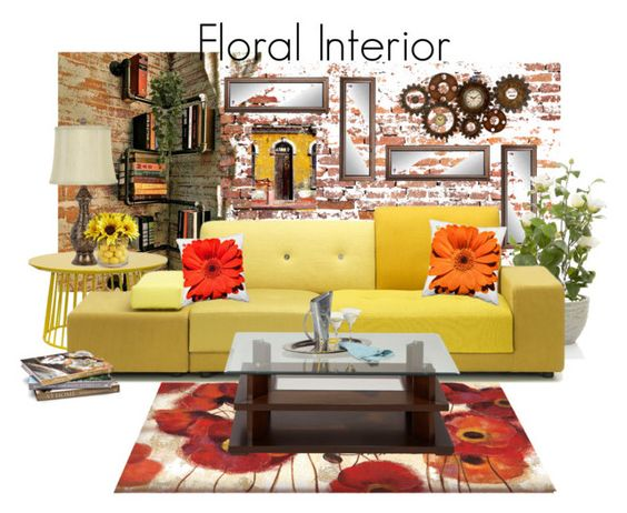 """""""Floral Interior"""" by neicy-i ❤ liked on Polyvore featuring interior, interiors, interior design, home, home decor, interior decorating, Pier 1 Imports, Polder, Dot & Bo and NOVICA"""