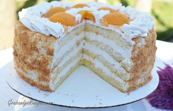 Russian Apricot Sponge Cake. One of the best parts of being part Russian. Love this cake.