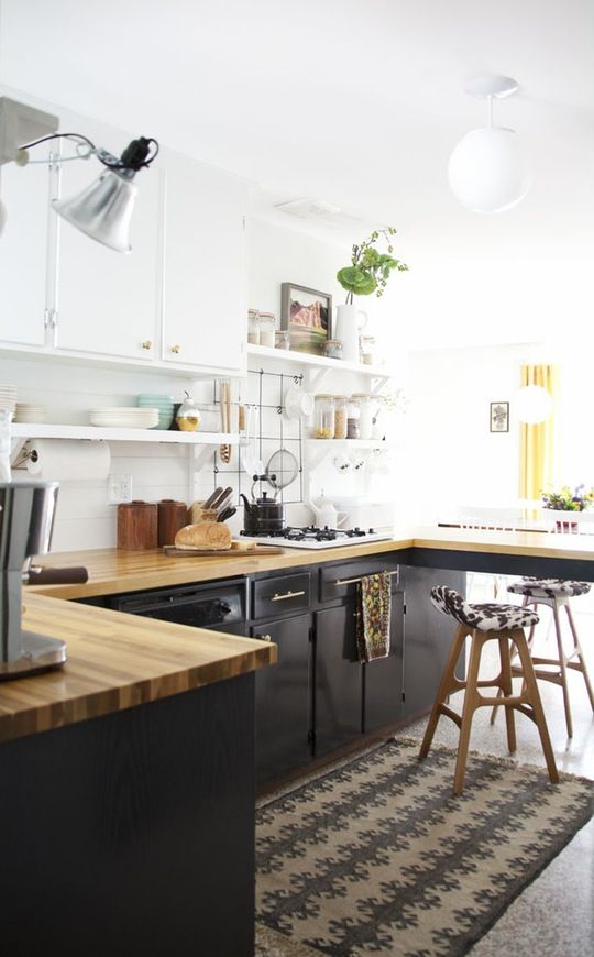 Apt Kitchen Renovations: Mix N Match, Cabinets And Wood Countertops On Pinterest