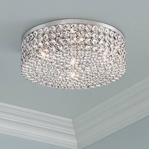 Velie 12 Wide Round Crystal Ceiling Light 8f723 Lamps Plus Crystal Ceiling Light Ceiling Lights Bedroom Light Fixtures