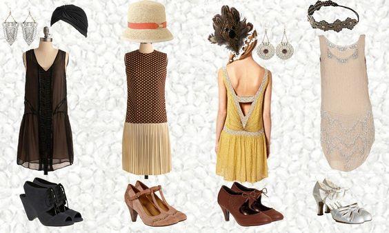 robe charleston, chaussures vintage et accessoires années 20