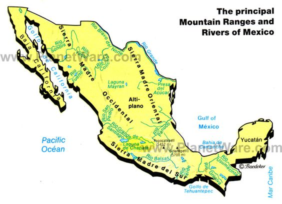 Map of Mexico Mountain Ranges Rivers PlanetWare – Geographical Map of Mexico