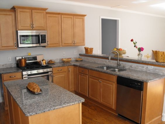 Granite countertops, Granite and Countertops on Pinterest on Light Maple Cabinets With Black Countertops  id=44529