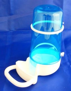 400ml large drinker or feeder Fits on to cage fronts and aviary meshApprox 15cm high and 7cm wideCome in  blue only