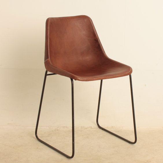Eetkamer stoelen van vintage leer, handgestikt met henneptouw en zwart stalen frame
