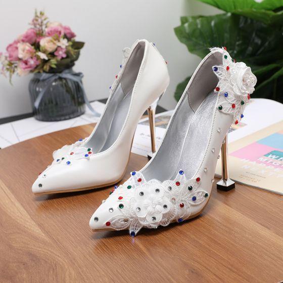 Eleganckie Kosc Sloniowa Multi Kolory Rhinestone Buty Slubne 2020 Aplikacje Z Koronki Kwiat 9 Cm Szpilki Szpiczaste Slub Czolenka Stiletto Heels Rhinestone Wedding Shoes Wedding Shoes