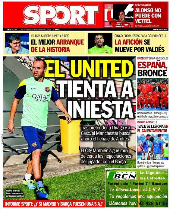 Los Titulares y Portadas de Noticias Destacadas Españolas del 23 de Septiembre de 2013 del Diario Deportivo SPORT ¿Que le pareció esta Portada de este Diario Español?