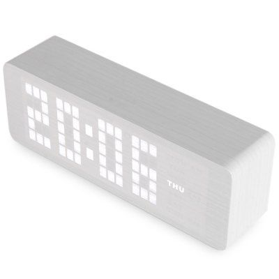 $17.49 (Buy here: http://appdeal.ru/aqh0 ) Novelty White Light LED Wooden Electronic Alarm Clock with Sound Control Calendar Thermometer Function for just $17.49