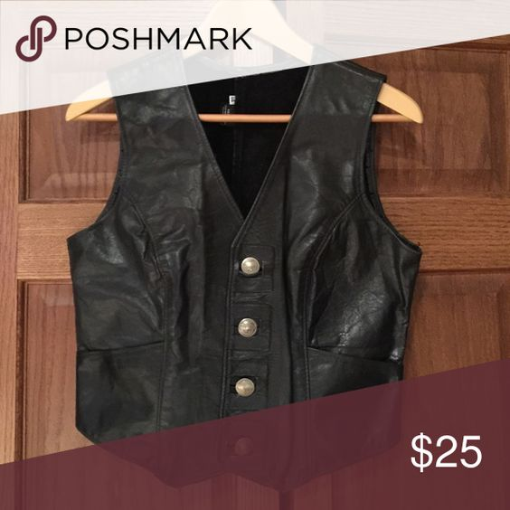Women's leather vest Kelly's leather vest Tops Button Down Shirts