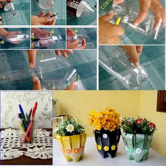 Vasinhos de garrafas pet, corte abinhas e vire para fora.: