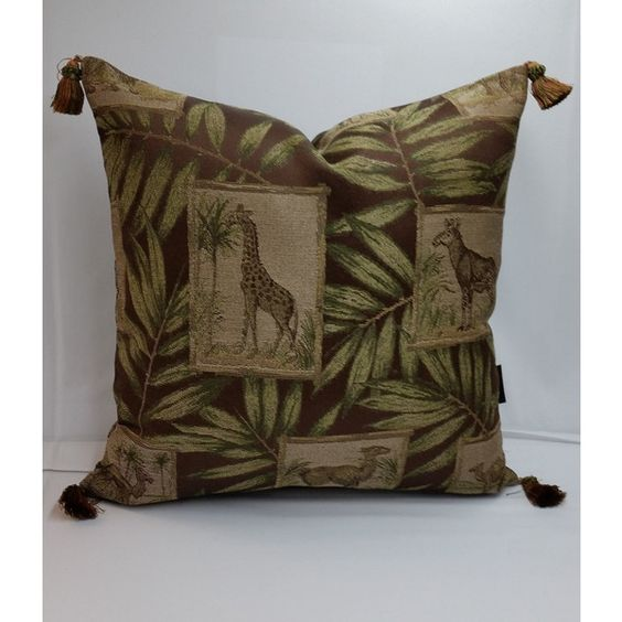 Tapestry Decorative Pillow Tassels 20 X 20 Animals Jungle Safari Brown... ($60) ❤ liked on Polyvore featuring home, home decor, throw pillows, dark olive, decorative pillows, home & living, home décor, green throw pillows, off white throw pillows and green accent pillows