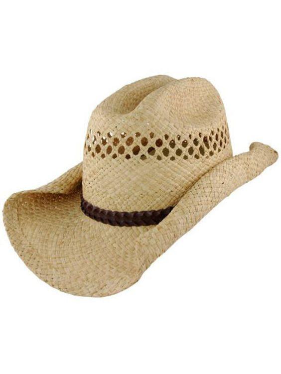 Halloween Cowboy Hat Adult - Straw Rolled Brim