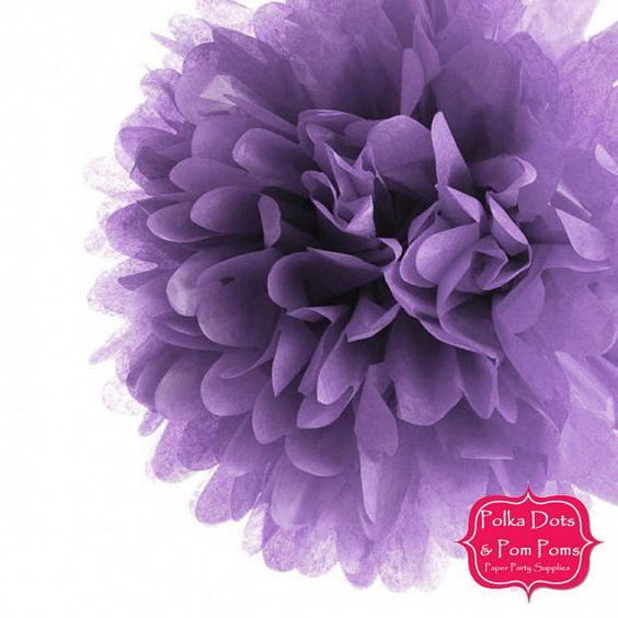 1 x 35cms (14 inches) LILAC Pastel Purple Tissue Paper POM POM / Pompom / Paper Flower / Retro Kids Party Supplies / Wedding / Baby Shower