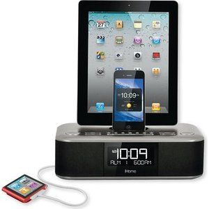 iHome Triple Charge Dual Alarm Stereo FM Clock Radio Color Gunmetal (iD99GZC) with 30 Pin Connector (NOT for IPHONE 5 or 6)