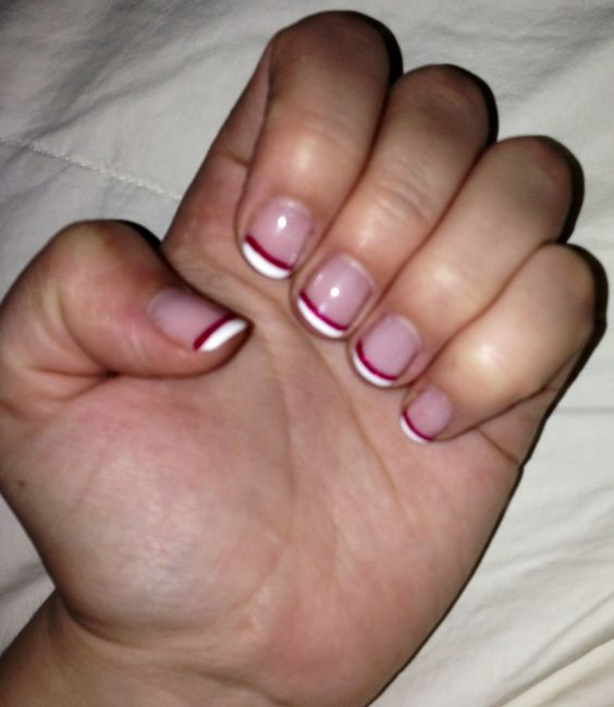 Candy Cane French Manicure (Shellac Colors) BASE: Romantique WHITE TIP ...