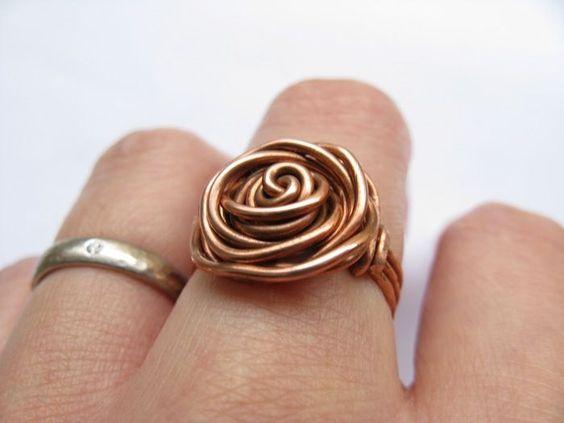 bisutería con alambre anillo de cobre                              …