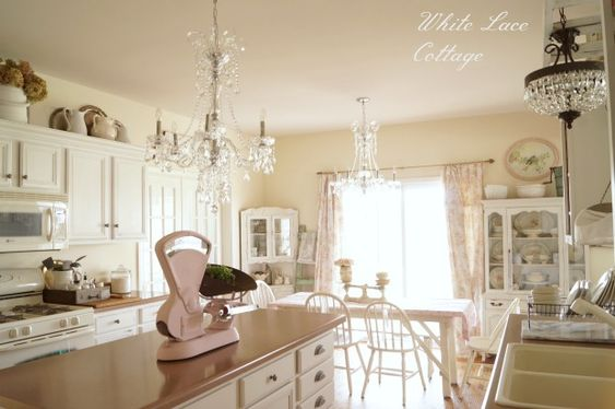 Crystal chandeliers shabby romantic kitchen romantic for Romantic kitchen designs