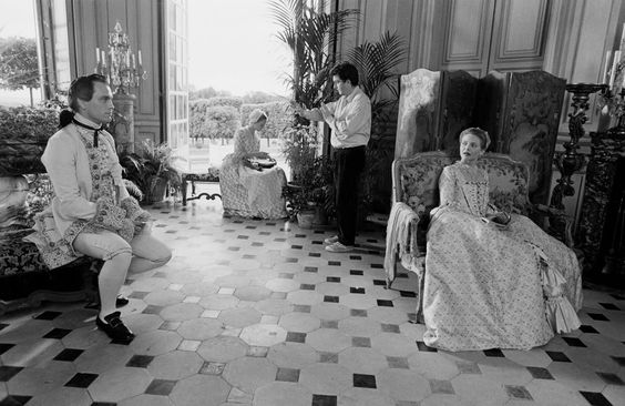 John Malkovich , Stephen Frears and Michelle Pfeiffer on the set of Dangerous Liaisons, 1988