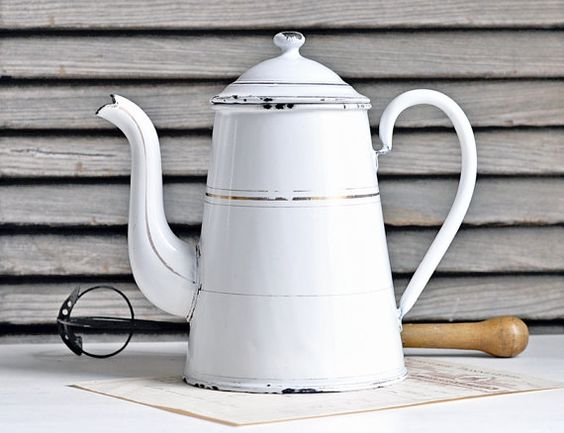 antique enamelware coffee pot  french country by petitsdetails, €36.00