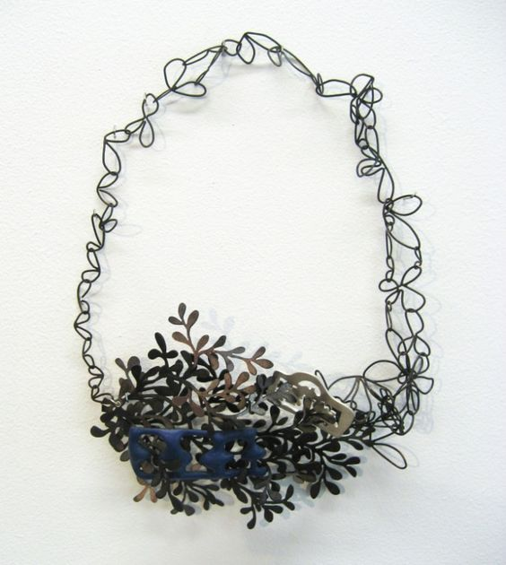 "lauren elizabeth wethers, ""grace"" neckpiece 8x13cm ( silver, oxidised base metal and blue enamel)"