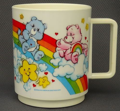 Vintage 1983 CARE BEARS Deka PLASTIC MELAMINE Childs Mug CUP Hallmark USA MADE