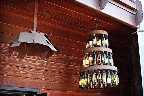 Wine bottles + light.