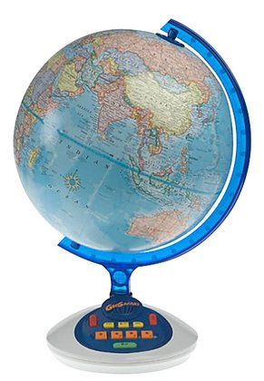 A globe and a geography quiz game all in one.