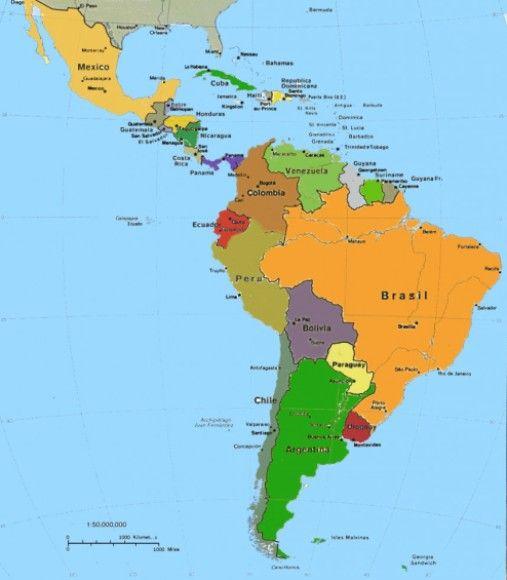 Mapa De América Latina Mapa Físico Geográfico Político Turístico Y Temático Mapa De America Latina Mapa De America Mapa Geografico De Mexico