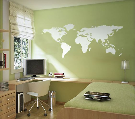 World maps maps and wall stickers on pinterest for Appliqu mural autocollant