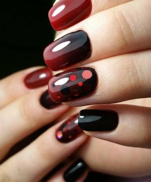 Most Trendy Red and Black Prom Nail Art Designs