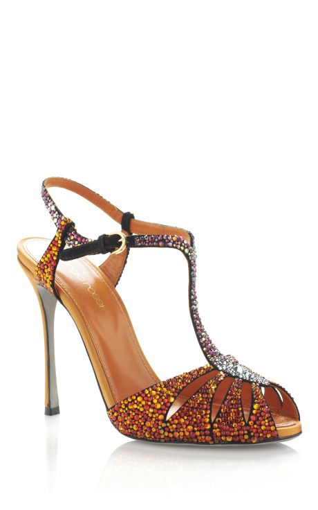 Paprika Murmask Evening Sandal by Sergio Rossi - Moda Operandi