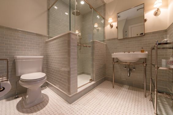 Contemporary 3/4 Bathroom with Jeffrey court carrara 3 in. x 6 in. x 8mm honed marble wall tile, specialty door, Console sink