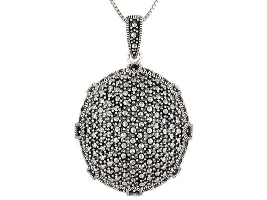 2.16ctw Vermelho Garnet (Tm) With Marcasite Sterling Pendant With Cha