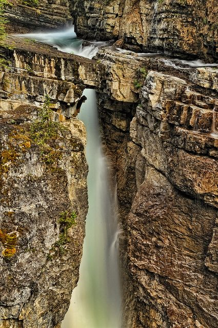Waterfall along Johnston Canyon in Banff, Alberta