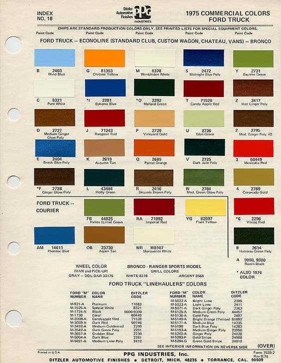 Color Chart 75 Ford Bronco Bronco Car Paint Colors