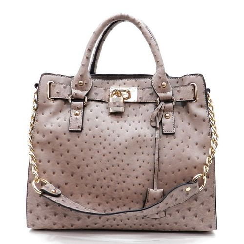 The Andora Ostrich Satchel in Gray for only $58 makes me smile :)  www.lovekrystle.com
