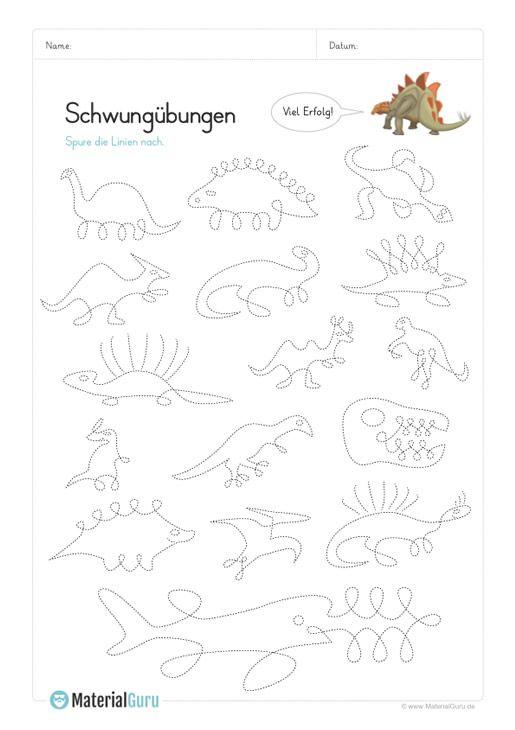 Ein Kostenloses Arbeitsblatt Mit Schwungubungen In Verbindung Mit Dinosauriern Jetzt Kostenlos Downloa Schwungubungen Vorschule Vorschulubungen Schwungubungen