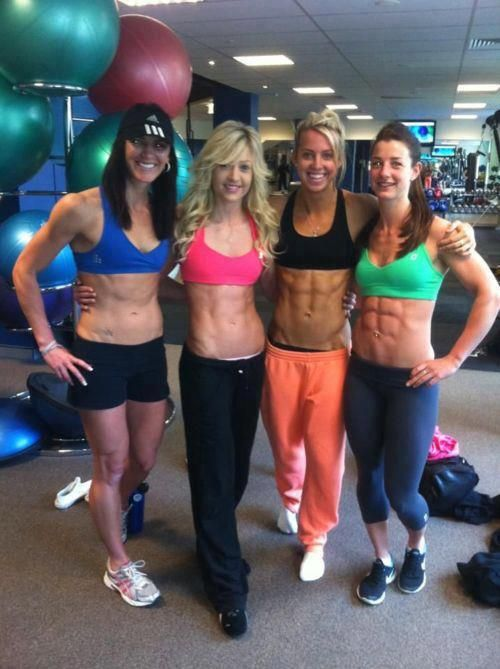 All these young ladies have great abs at different levels ...
