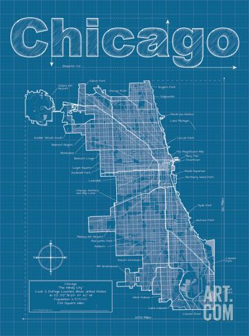 Chicago artistic blueprint map far away lakes and we chicago artistic blueprint map art print by christopher estes save up to 40 for malvernweather Images