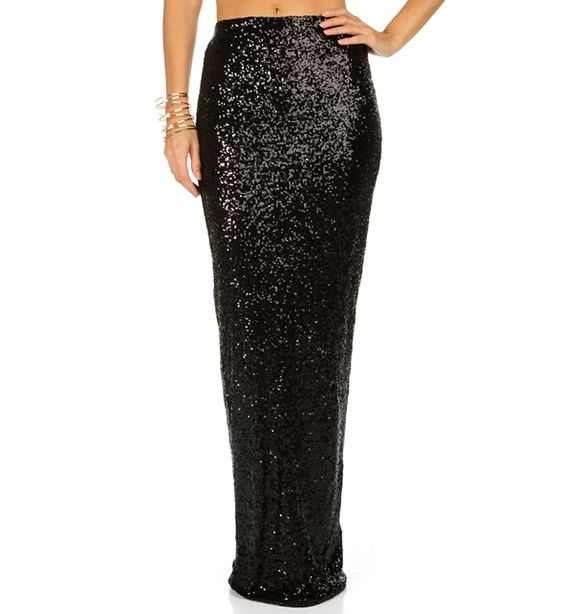Pre-Order: Black Fitted Sequin Maxi Skirt at WindsorStore | I Want ...