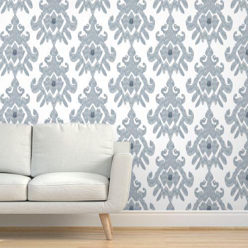 17 11n Large Ikat Slate Blue Gray Grey W Spoonflower Wall Coverings Textured Walls Slate Blue
