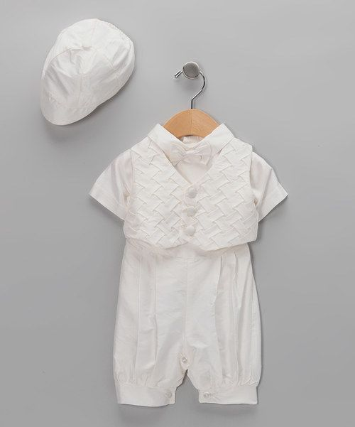 Look at this Lida Lida White Woven Vest Set - Infant on #zulily today!