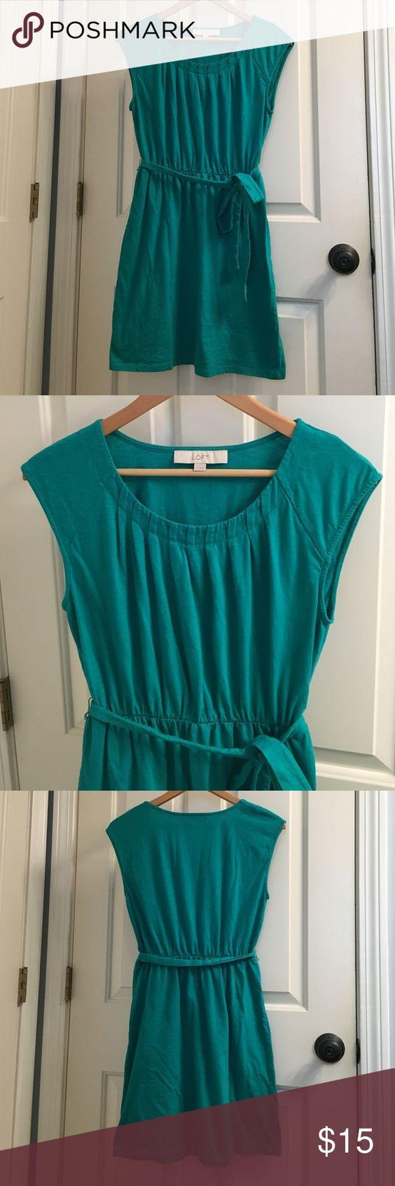 Loft slub cotton dress Beautiful green slub cotton sleeveless dress with pleated neckline, gathered waist and tie belt. Worn a few times but in excellent condition LOFT Dresses