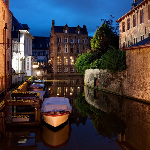 an evening in bruges, belgium.