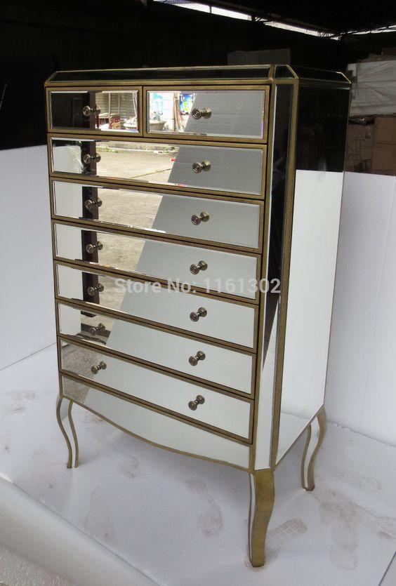 MR-401113L Mirrored drawers tall chest(China (Mainland))